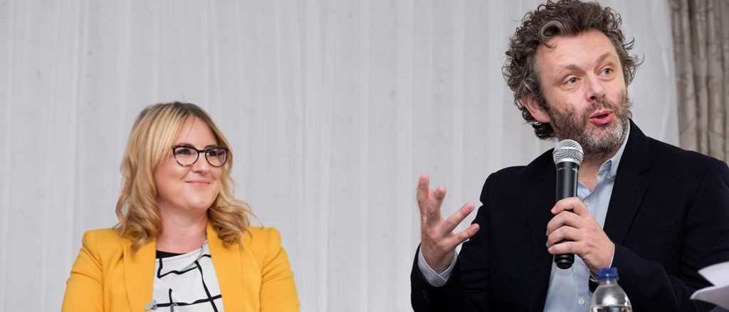 Sophie Howe and Michael Sheen at Llamau conference