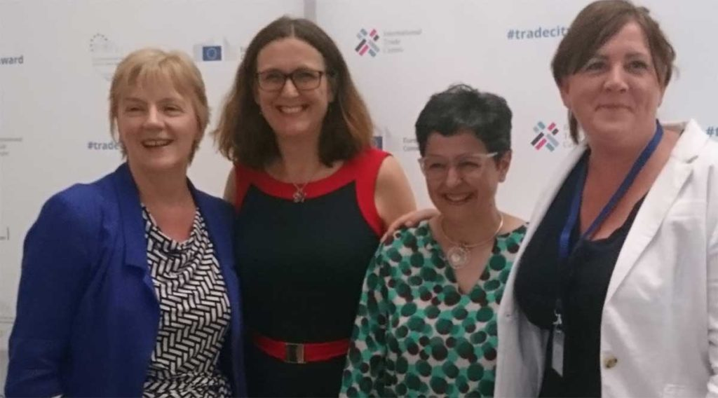 Picture of (left to right) Linda McAvan, MEP, Founder and Chair of the European Parliament's working group on Fairtrade, Cecilia Malmström, European Commissioner for Trade and Arancha González, Executive Director of the International Trade Centre, Elen Jones, Office of Future Generations Commissioner and Fair Trade Wales.