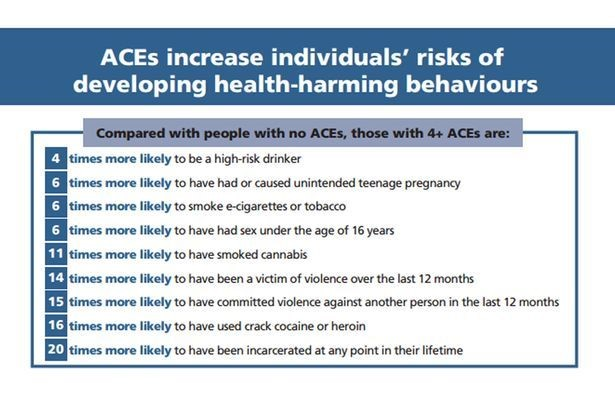Diagram showing percentages of individuals' risk of developing health-harming behaviours