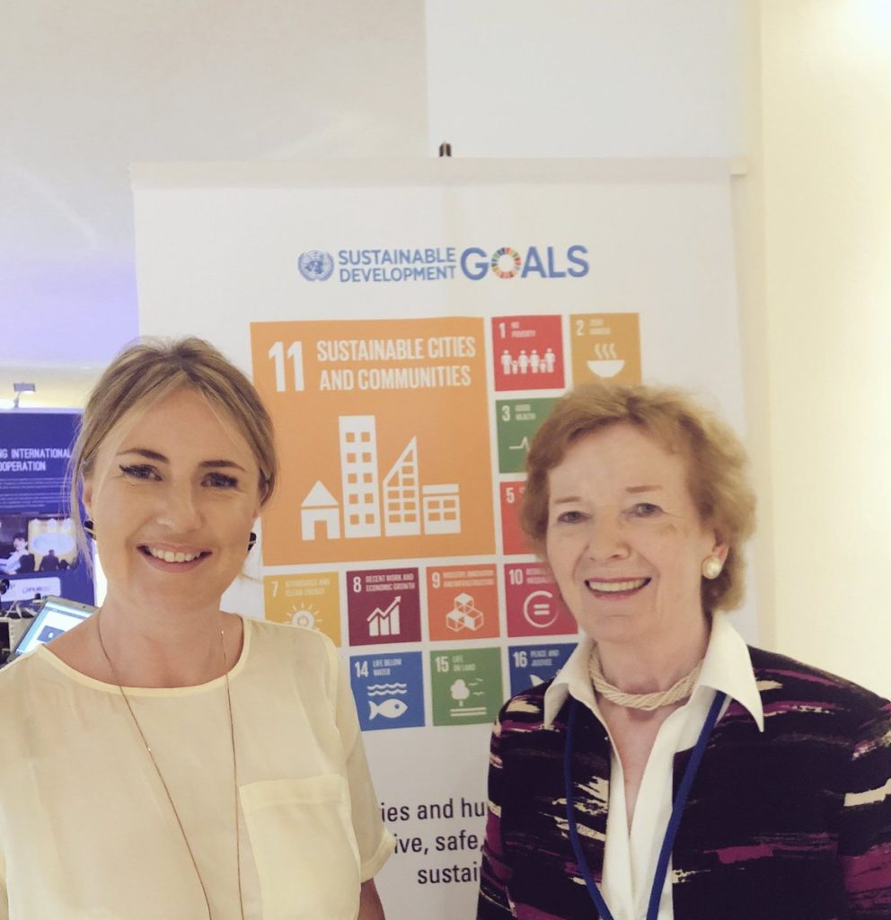 Sophie Howe, the Future Generations Commissioner for Wales, pictured with Mary Robinson, of the Mary Robinson Foundation