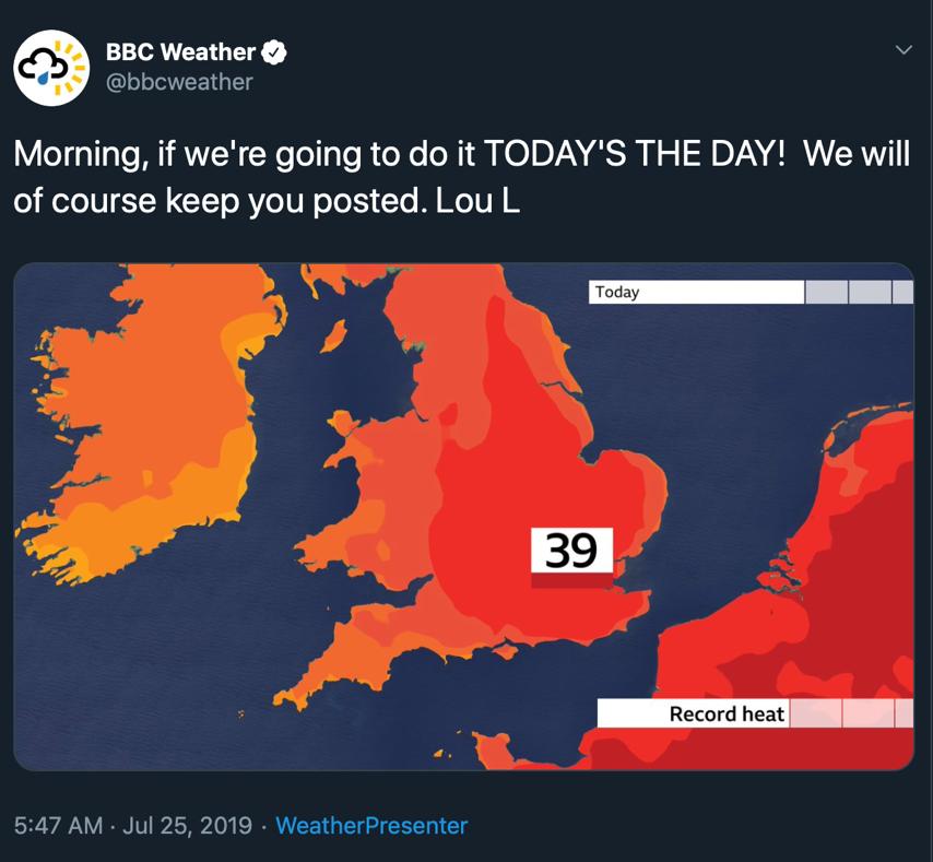 BBC Weather Tweet