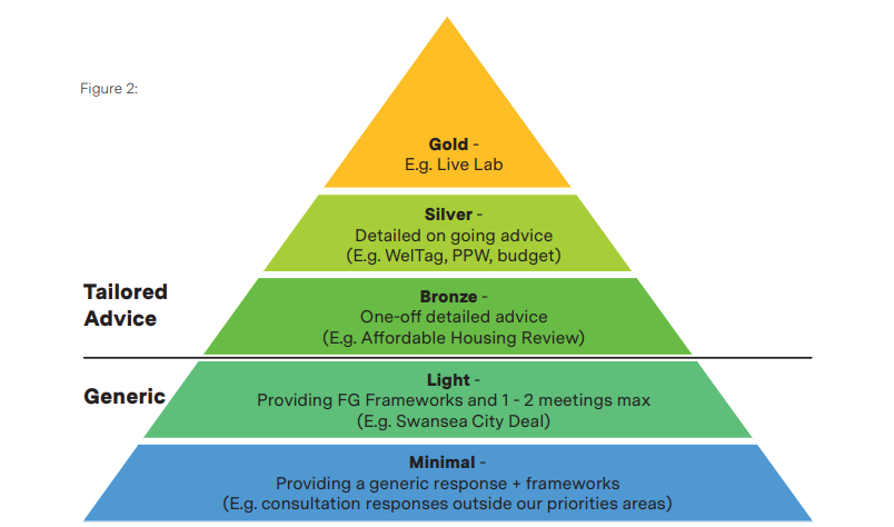 This pyramid shows the different levels of advice and assistance we offer